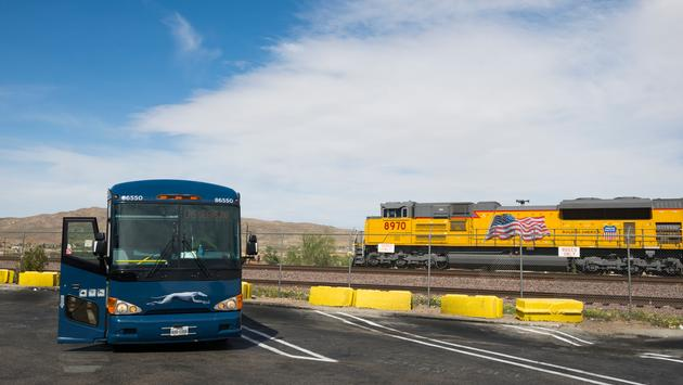 Greyhound bus bound at a rest stop on Route 66 in Barstow, California