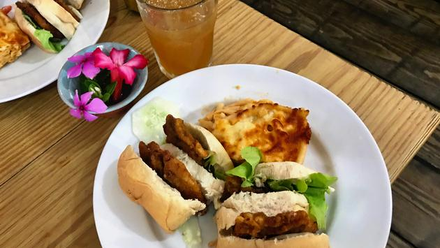 Flying Fish Sandwich and Rum Punch at Cutters of Barbados