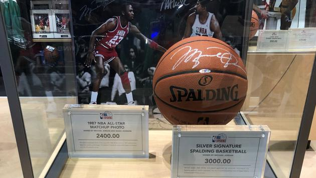 Signed ball display at Disney Springs' NBA Experience