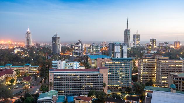 Cityscape of Nairobi, capital city of Kenya.