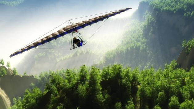 Hang gliding over a mountain landscape