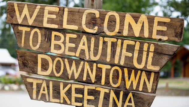 Welcome sign in Talkeetna, Alaska