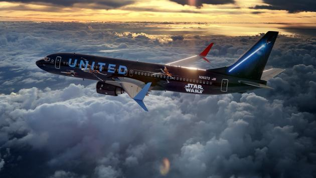 """United Airlines' new """"Star Wars: The Rise of Skywalker"""" 737-800 aircraft exterior."""