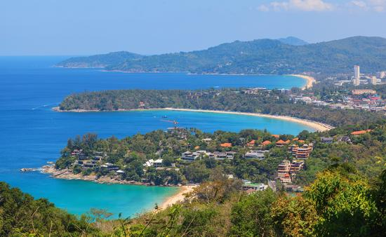 Beaches with blue sky background at Phuket