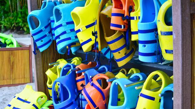 life jackets, Discovery Cove, Orlando