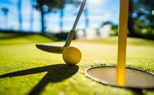 Mini golf at sunset