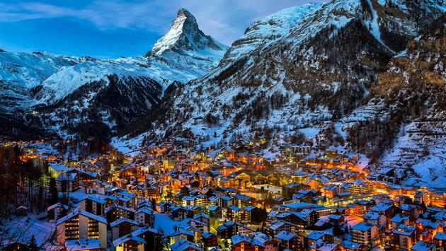 Zermatt Valley and Matterhorn peak in Switzerland