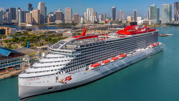 Virgin Voyages' first ship, Scarlet Lady, in Miami.