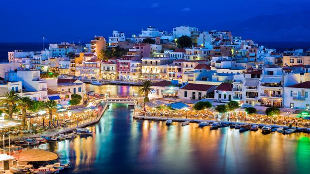 Agios Nikolaos at night, Crete, Greece