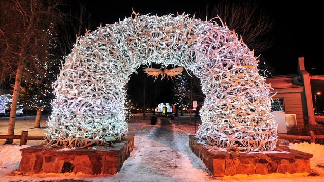 Antler arches lit up for Christmas time in Jackson Hole, Wyoming