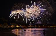 Fourth of July fireworks at Ala Moana Beach Park in Honolulu, Hawaii