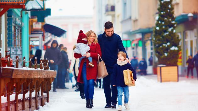Family walking together during the holidays
