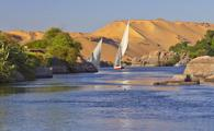 Sailing boats on Nile river near Aswan