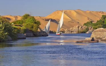 Sailing boats on Nile river near Aswan
