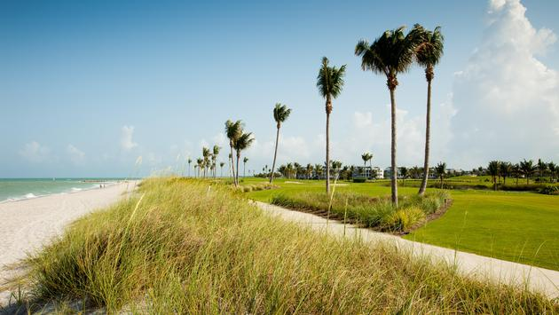 Beach and golf course in Sanibel Island, Florida