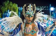 A glamorous performer in Rio de Janeiro's Carnival parade.