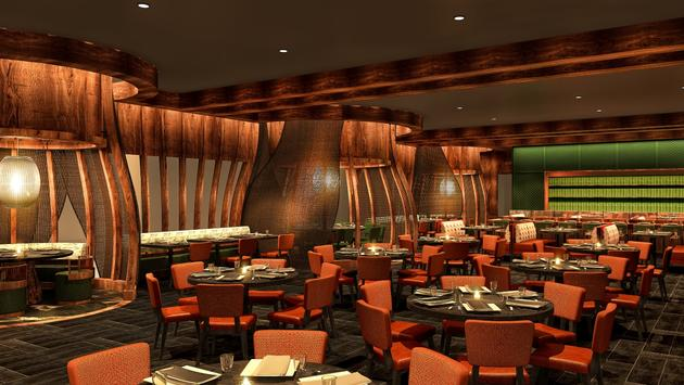 Rendering of the dining room at the Nobu NOLA.