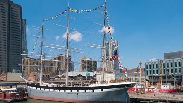 The historic Wavertree is docked at the South Street Seaport in Manhattan.
