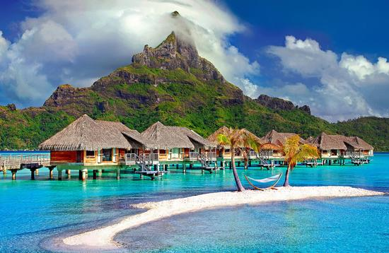 Over-water bungalows in Bora Bora
