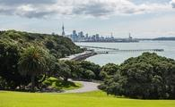 Auckland city panorama with road and yachts in New Zealand