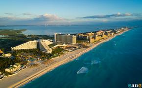 Aerial view of Cancun