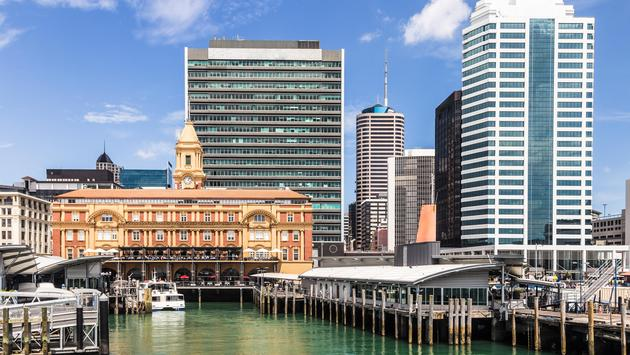 The historic Ferry terminal building in downtown in Auckland in New Zealand