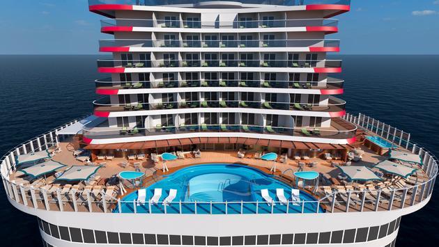 Mardi Gras patio pool rendering, Carnival Cruise Line