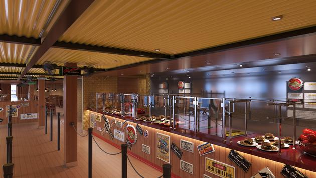 Rendering of Guy's Burger Joint aboard Carnival's Mardi Gras, Carnival Cruise Line