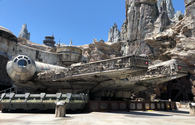 Exterior Shot of the Millenium Falcon at Star Wars: Galaxy's Edge at Disneyland