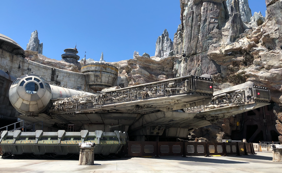 Exterior Shot of the Millenium Falcon at Star Wars: Galaxy's Edge at Disneyland