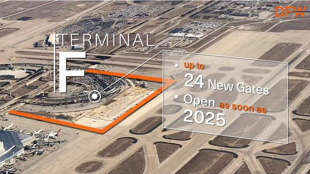 The location of DFW's new Terminal F.