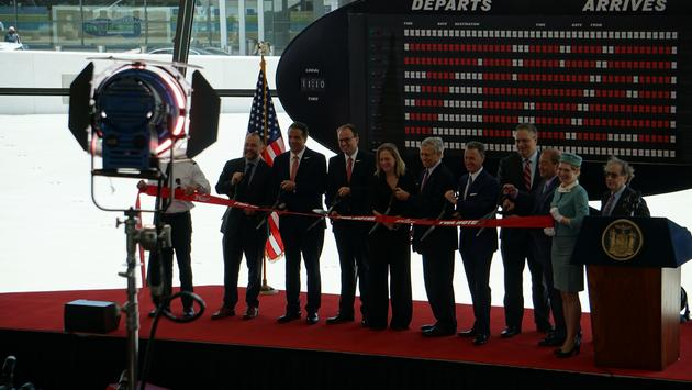 Dignitaries including New York Governor Andrew M. Cuomo cut the ribbon on the TWA Hotel in the historic Sunken Loung