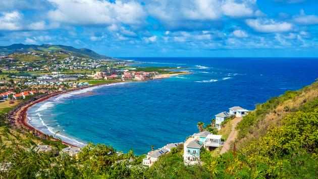 The view from Timothy Hill overlooking Basseterre, the capital of St. Kitts and Nevis.
