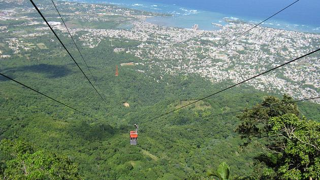 Soaring above Puerto Plata, Dominican Republic in a cable car