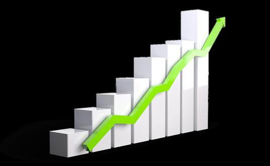 Bar graph line graph growth