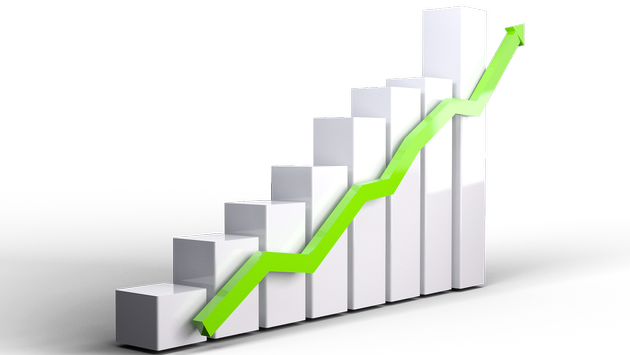 Bar graph line graph growth