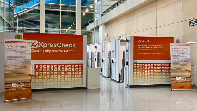 The XpresCheck COVID-19 testing facility at Boston Logan International Airport.
