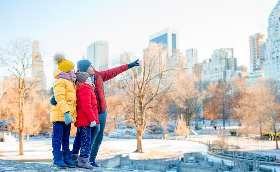Family sightseeing from New York City's Central Park