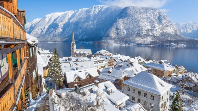Classic view of Hallstatt in winter, Salzkammergut, Austria