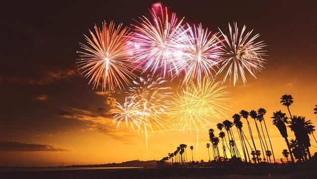 Fireworks over Santa Monica, California