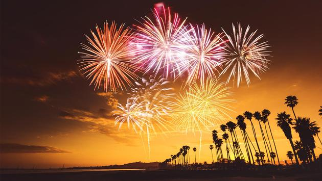 Fireworks over Santa Monica, California