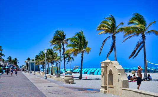 palm trees, beach, Broadwalk, Hollywood Florida