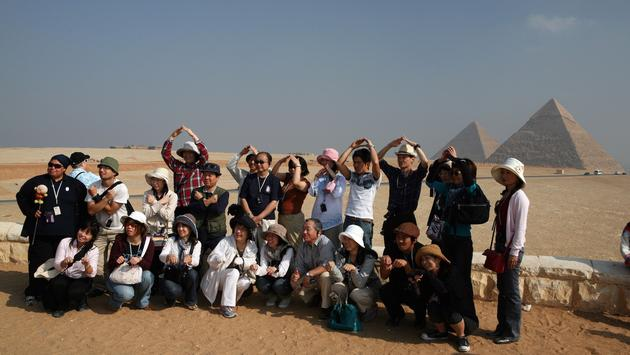 Group of tourists visiting Giza, Egypt