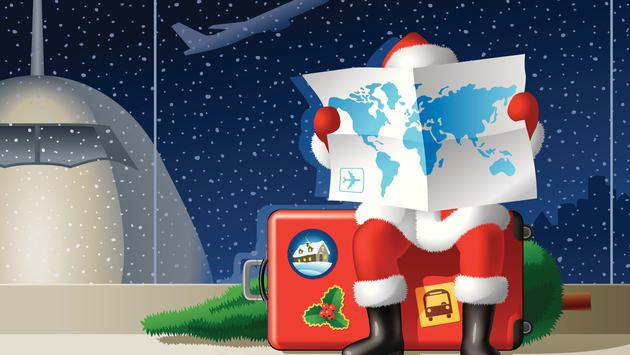 Santa, Christmas, travel