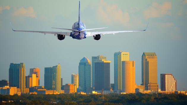 A plane taking off from Tampa International Airport