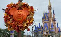 Halloween Mickey Wreath in front of Cinderella