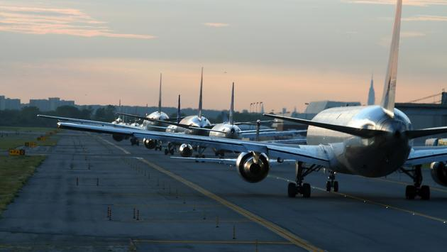 Planes on runway at New York's JFK airport.