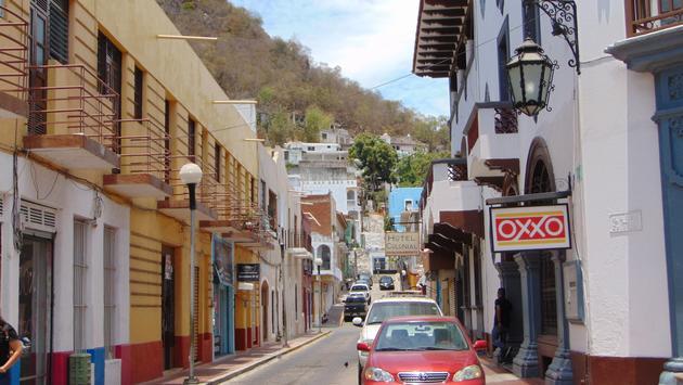 City streets of Manzanillo, Mexico