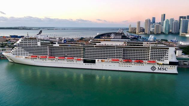 MSC Meraviglia docked at her new homeport in Miami.