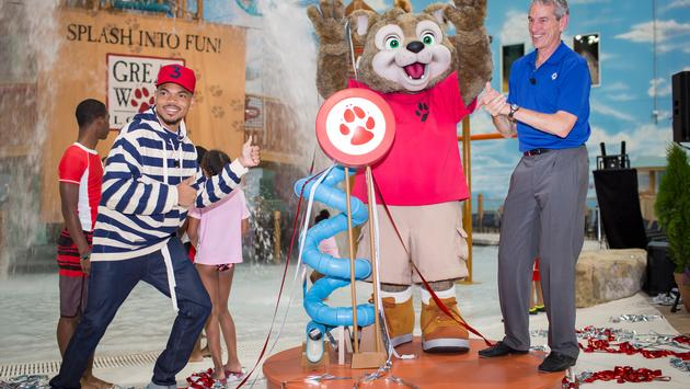 Great Wolf CEO Murray Hennessy, right, and Chance the Rapper